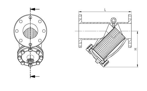 Rapidrop RD702 PN16 Y-Type Strainer (Flanged) Dimensions (DIMs)
