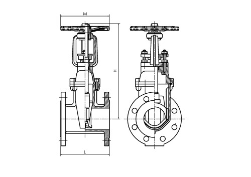 Rapidrop RD116FF OS&Y Gate Valve F4 Series (Flanged) dims