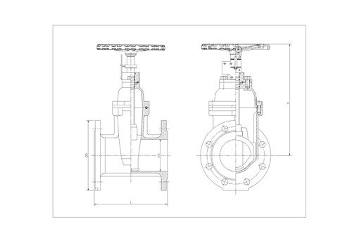 Rapidrop RD112 NRS GP BS 5163 Gate Valve (Flanged) dims