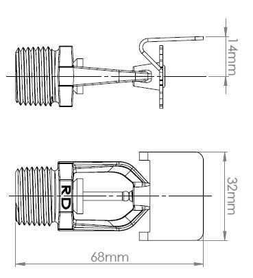 RD060, RD061 Horizontal Side Wall Fire Sprinkler Head Dimensions
